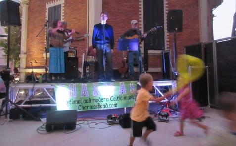Abbott Square with running kids